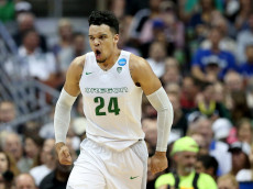 ANAHEIM, CA - MARCH 24:  Dillon Brooks #24 of the Oregon Ducks reacts in the first half while taking on the Duke Blue Devils in the 2016 NCAA Men's Basketball Tournament West Regional at the Honda Center on March 24, 2016 in Anaheim, California.  (Photo by Sean M. Haffey/Getty Images)