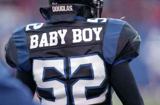11 Feb 2001:  A close up of Haven Fields #52 of the New York/New Jersey Hitmen nickname and jersey during the game against the Birmingham Bolts at the Giants Stadium in East Rutherford, New Jersey. The Bolts defeated the Hitmen 19-12.Mandatory Credit: Al Bello  /Allsport