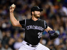 DENVER, CO - SEPTEMBER 30: Chad Bettis #35 of the Colorado Rockies pitches against the Milwaukee Brewers in the fourth inning of a game at Coors Field on September 30, 2016 in Denver, Colorado.  (Photo by Dustin Bradford/Getty Images)