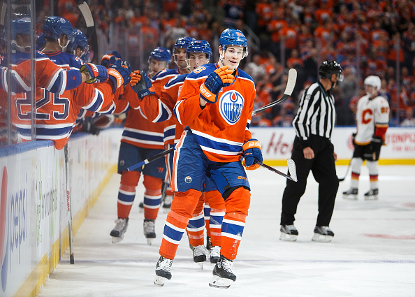EDMONTON, AB - OCTOBER 12:  Jesse Puljujarvi #98 of the Edmonton Oilers celebrates his first NHL goal against the Calgary Flames on October 12, 2016 at Rogers Place in Edmonton, Alberta, Canada. (Photo by Codie McLachlan/Getty Images)