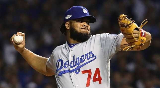 CHICAGO, IL - OCTOBER 16:  Kenley Jansen #74 of the Los Angeles Dodgers throws a pitch in the eighth inning against the Chicago Cubs during game two of the National League Championship Series at Wrigley Field on October 16, 2016 in Chicago, Illinois.  (Photo by Jonathan Daniel/Getty Images)