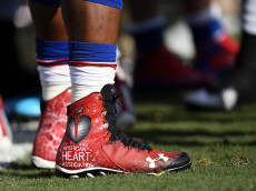 OAKLAND, CA - DECEMBER 04:  Marcell Dareus #99 of the Buffalo Bills wear special cleats prior to their NFL game against the Oakland Raiders at Oakland Alameda Coliseum on December 4, 2016 in Oakland, California.  (Photo by Thearon W. Henderson/Getty Images)