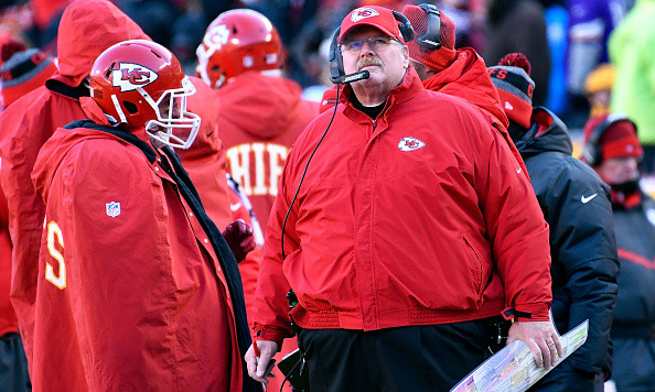 KANSAS CITY, MO - DECEMBER 18:  Head coach Andy Reid of the Kansas City Chiefs watches the scoreboard during the game against the Tennessee Titans at Arrowhead Stadium on December 18, 2016 in Kansas City, Missouri.  (Photo by Reed Hoffmann/Getty Images)