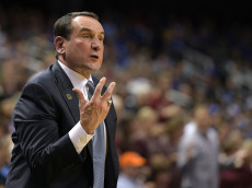 GREENSBORO, NC - DECEMBER 21: Head coach Mike Krzyzewski of the Duke Blue Devils directs his team against the Elon Phoenix at the Greensboro Coliseum on December 21, 2016 in Greensboro, North Carolina. Duke won 72-61. (Photo by Lance King/Getty Images)