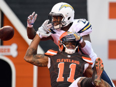 CLEVELAND, OH - DECEMBER 24:  Casey Hayward #26 of the San Diego Chargers breaks up a pass intended for Terrelle Pryor #11 of the Cleveland Browns in the second quarter at FirstEnergy Stadium on December 24, 2016 in Cleveland, Ohio. (Photo by Jason Miller/Getty Images)
