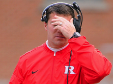 COLLEGE PARK, MD - NOVEMBER 26: Rutgers Scarlet Knights head coach Chris Ash reacts after his team gives up a touchdown against the Maryland Terrapins in the first quarter on November 26, 2016, at Capital One Field in College Park, MD. (Photo by Mark Goldman/Icon Sportswire via Getty Images)