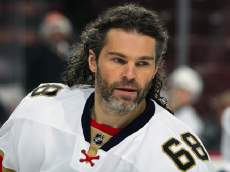 PHILADELPHIA, PA - DECEMBER 06: Jaromir Jagr #68 of the Florida Panthers looks on during warm-ups prior to his game against the Philadelphia Flyers on December 6, 2016 at the Wells Fargo Center in Philadelphia, Pennsylvania. (Photo by Len Redkoles/NHLI via Getty Images)