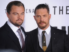 """(L-R) Actors Leonardo DiCaprio and Tom Hardy arrive at the premiere of """"The Revenant"""" held at the TCL Chinese Theater in Hollywood."""