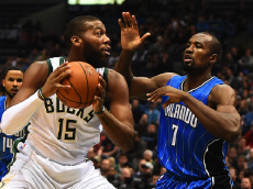 MILWAUKEE, WI - NOVEMBER 21: Greg Monroe #15 of the Milwaukee Bucks works against Serge Ibaka #7 of the Orlando Magic during a game at the BMO Harris Bradley Center on November 21, 2016 in Milwaukee, Wisconsin. Milwaukee defeated Orlando 93-89. (Photo by Stacy Revere/Getty Images)