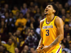 MINNEAPOLIS, MN - DECEMBER 27: Minnesota Golden Gophers forward Jordan Murphy (3) reacts after hitting a shot in the 1st half during the Big Ten Conference match up between the Michigan State Spartans and the Minnesota Golden Gophers on December 27, 2016 at Williams Arena in Minneapolis, Minnesota. (Photo by David Berding/Icon Sportswire via Getty Images)