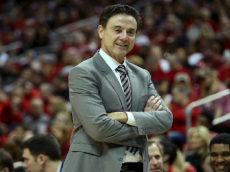 LOUISVILLE, KY - FEBRUARY 6:  Head coach Rick Pitino of the Louisville Cardinals smiles during the second half against the Boston College Eagles at KFC Yum! Center on February 6, 2016 in Louisville, Kentucky. (Photo by Dylan Buell/Getty Images)