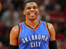 The Oklahoma City Thunder's Russell Westbrook reacts after play against the Miami Heat during the first quarter at AmericanAirlines Arena in Miami on Tuesday, Dec. 27, 2016. The Thunder won, 106-94. (David Santiago/El Nuevo Herald/TNS)