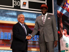 NEW YORK, NY - JUNE 27:  Anthony Bennett of UNLV poses for a photo with NBA Commissioner David Stern after Bennett was drafted #1 overall in the first round by the Cleveland Cavaliers during the 2013 NBA Draft at Barclays Center on June 27, 2013 in in the Brooklyn Bourough of New York City.  NOTE TO USER: User expressly acknowledges and agrees that, by downloading and/or using this Photograph, user is consenting to the terms and conditions of the Getty Images License Agreement.  (Photo by Mike Stobe/Getty Images)