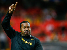 ATLANTA, GA - DECEMBER 14: Joey Porter, a former Pittsburgh Steelers player, walks on the field prior to the game against the Atlanta Falcons at the Georgia Dome on December 14, 2014 in Atlanta, Georgia.  (Photo by Kevin C. Cox/Getty Images)