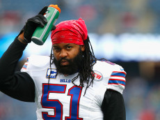 FOXBORO, MA - DECEMBER 28:  Brandon Spikes #51 of the Buffalo Bills warms up before a game against the New England Patriots at Gillette Stadium on December 28, 2014 in Foxboro, Massachusetts.  (Photo by Jared Wickerham/Getty Images)