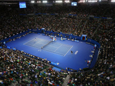 MELBOURNE, AUSTRALIA - FEBRUARY 01:  A general view of Rod Laver Arena as Novak Djokovic of Serbia plays a forehand in his men's final match against Andy Murray of Great Britain during day 14 of the 2015 Australian Open at Melbourne Park on February 1, 2015 in Melbourne, Australia.  (Photo by Cameron Spencer/Getty Images)