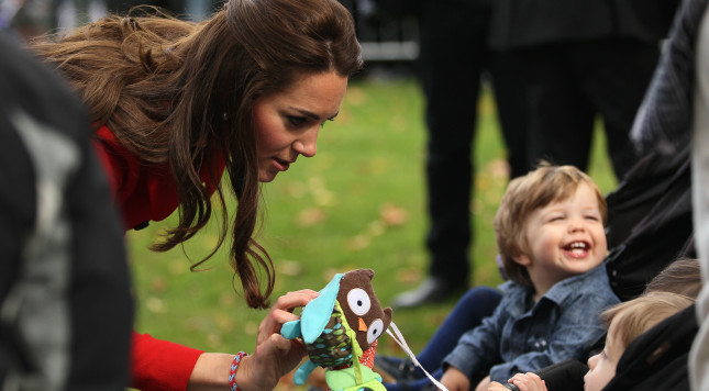 CHRISTCHURCH, NEW ZEALAND - APRIL 14:  Catherine, Duchess of Cambridge greets young toddlers during the countdown to the 2015 ICC Cricket World Cup at Latimer Square on April 14, 2014 in Christchurch, New Zealand. The Royal couple are currently in New Zealand and touring the country until Wednesday, when they then head to Australia.  (Photo by Joseph Johnson/Getty Images for ICC Cricket World Cup)