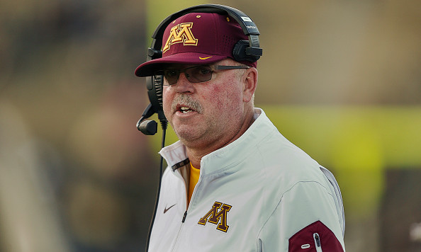 WEST LAFAYETTE, IN - OCTOBER 10: Head coach Jerry Kill of the Minnesota Golden Gophers is seen during the game against the Purdue Boilermakers at Ross-Ade Stadium on October 10, 2015 in West Lafayette, Indiana. Minnesota defeated Purdue 41-13. (Photo by Michael Hickey/Getty Images)