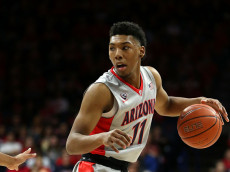 TUCSON, AZ - NOVEMBER 16: Allonzo Trier #11 of the Arizona Wildcats dribbles the ball during the first half of the college basketball game against the Bradley Braves at McKale Center on November 16, 2015 in Tucson, Arizona. (Photo by Chris Coduto/Getty Images)