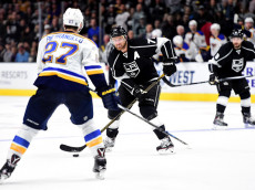 LOS ANGELES, CA - JANUARY 09:  Jeff Carter #77 of the Los Angeles Kings controls the puck in front of Alex Pietrangelo #27 of the St. Louis Blues at Staples Center on January 9, 2016 in Los Angeles, California.  (Photo by Harry How/Getty Images)