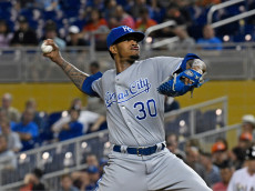 MIAMI, FL - AUGUST 23: Yordano Ventura #30 of the Kansas City Royals throws a pitch during the 2nd inning against the Miami Marlins at Marlins Park on August 23, 2016 in Miami, Florida. (Photo by Eric Espada/Getty Images)