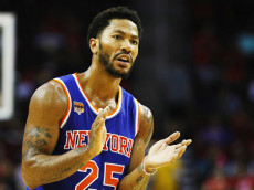 HOUSTON, TX - OCTOBER 04:  Derrick Rose #25 of the New York Knicks waits on the court during their game against the Houston Rockets at the Toyota Center on October 4, 2016 in Houston, Texas. NOTE TO USER: User expressly acknowledges and agrees that, by downloading and or using this Photograph, user is consenting to the terms and conditions of the Getty Images License Agreement.  (Photo by Scott Halleran/Getty Images)