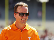 COLLEGE STATION, TX - OCTOBER 08:  Former Tennessee Volunteers quarterback Peyton Manning walks across the field prior to the start of their game against the Texas A&M Aggies at Kyle Field on October 8, 2016 in College Station, Texas.  (Photo by Scott Halleran/Getty Images)