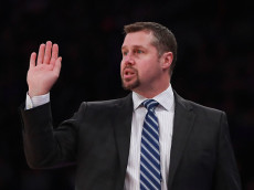NEW YORK, NY - DECEMBER 04:  Head coach David Joerger of the Sacramento Kings directs his team against the New York Knicks during the first half at Madison Square Garden on December 4, 2016 in New York City. NOTE TO USER: User expressly acknowledges and agrees that, by downloading and or using this photograph, User is consenting to the terms and conditions of the Getty Images License Agreement.  (Photo by Michael Reaves/Getty Images)