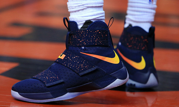TORONTO, ON - DECEMBER 05:  The Nike shoes worn by Lebron James #23 of the Cleveland Cavaliers during the first half of an NBA game against the Toronto Raptors at Air Canada Centre on December 5, 2016 in Toronto, Canada.  NOTE TO USER: User expressly acknowledges and agrees that, by downloading and or using this photograph, User is consenting to the terms and conditions of the Getty Images License Agreement.  (Photo by Vaughn Ridley/Getty Images)