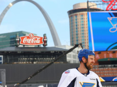 ST. LOUIS, MO - JANUARY 1: Kyle Brodziak #28 of the St. Louis Blues skates during the 2017 Bridgestone NHL Winter Classic Practice Day  at Busch Stadium on January 1, 2017 in St. Louis, Missouri.  (Photo by Dilip Vishwanat/Getty Images)