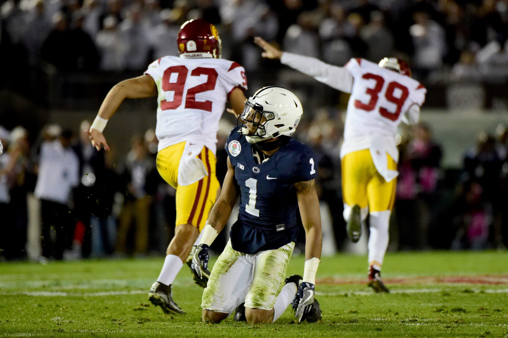 PASADENA, CA - JANUARY 02:  Cornerback Christian Campbell #1 of the Penn State Nittany Lions reacts as place kicker Matt Boermeester #39 of the USC Trojans (R) celebrates after making the game-winning 46-yard field goal in the fourth quarter to defeat the Penn State Nittany Lions 52-49 in the 2017 Rose Bowl Game presented by Northwestern Mutual at the Rose Bowl on January 2, 2017 in Pasadena, California.  (Photo by Harry How/Getty Images)