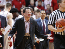 BLOOMINGTON, IN - JANUARY 03: Head coach Tom Crean of the Indiana Hoosiers reacts in the second half of the game against the Wisconsin Badgers at Assembly Hall on January 3, 2017 in Bloomington, Indiana. Wisconsin defeated Indiana 75-68. (Photo by Joe Robbins/Getty Images)