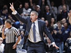INDIANAPOLIS, IN - JANUARY 04: Head coach Chris Holtmann of the Butler Bulldogs reacts in the second half of the game against the Villanova Wildcats at Hinkle Fieldhouse on January 4, 2017 in Indianapolis, Indiana. Butler defeated the No. 1 ranked Wildcats 66-58. (Photo by Joe Robbins/Getty Images)