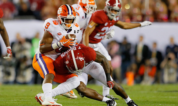 TAMPA, FL - JANUARY 09:  Defensive back Tony Brown #2 of the Alabama Crimson Tide stops running back Wayne Gallman #9 of the Clemson Tigers on 4th down during the first quarter of the 2017 College Football Playoff National Championship Game at Raymond James Stadium on January 9, 2017 in Tampa, Florida.  (Photo by Kevin C. Cox/Getty Images)