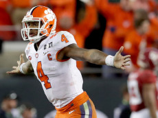 TAMPA, FL - JANUARY 09:  Quarterback Deshaun Watson #4 of the Clemson Tigers celebrates after throwing a 2-yard game-winning touchdown pass during the fourth quarter against the Alabama Crimson Tide to win the 2017 College Football Playoff National Championship Game 35-31 at Raymond James Stadium on January 9, 2017 in Tampa, Florida.  (Photo by Streeter Lecka/Getty Images)