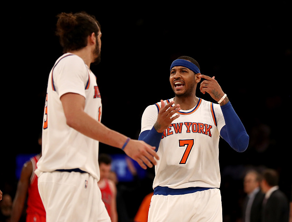 NEW YORK, NY - JANUARY 12:  Carmelo Anthony #7 of the New York Knicks talks with teammate Joakim Noah #13 in the second half against the Chicago Bulls at Madison Square Garden on January 12, 2017 in New York City. NOTE TO USER: User expressly acknowledges and agrees that, by downloading and or using this Photograph, user is consenting to the terms and conditions of the Getty Images License Agreement  (Photo by Elsa/Getty Images)
