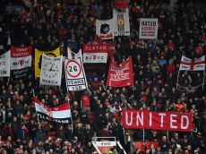 MANCHESTER, ENGLAND - JANUARY 15:  Man Utd fans show their support prior to the Premier League match between Manchester United and Liverpool at Old Trafford on January 15, 2017 in Manchester, England.  (Photo by Mike Hewitt/Getty Images)