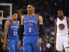 OAKLAND, CA - JANUARY 18:  Russell Westbrook #0 of the Oklahoma City Thunder complains about a call during their game against the Golden State Warriors at ORACLE Arena on January 18, 2017 in Oakland, California.  NOTE TO USER: User expressly acknowledges and agrees that, by downloading and or using this photograph, User is consenting to the terms and conditions of the Getty Images License Agreement.  (Photo by Ezra Shaw/Getty Images)