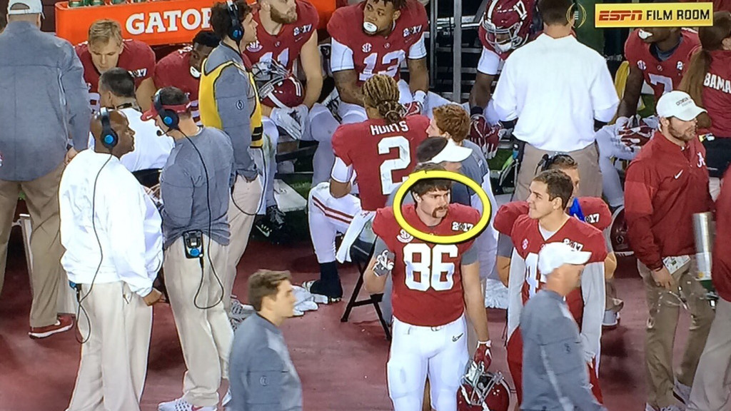 This Alabama player is a life champion of mustaches.