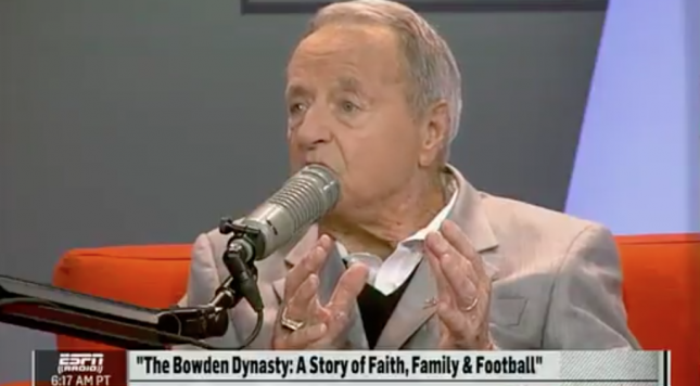 Bobby Bowden: Boys without fathers wear earrings to be like their mommas