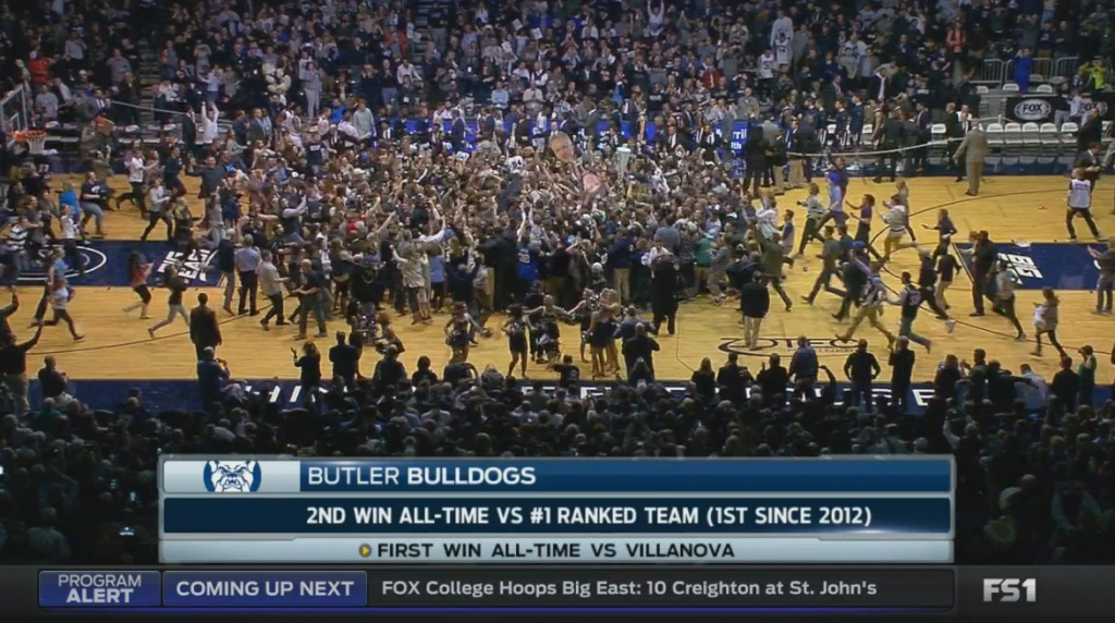 Butler fans got a chance to storm the court Wednesday night by pulling off an upset of the defending champs.