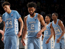 North Carolina's Joel Berry II (2) and Justin Jackson (44) leave the court after a 75-63 loss against Georgia Tech on Saturday, Dec. 31, 2016, at McCamish Pavillion in Atlanta. (Robert Willett/Raleigh News & Observer/TNS via Getty Images)