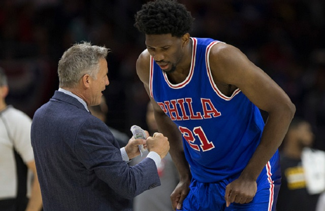 PHILADELPHIA, PA - NOVEMBER 5: Head coach Brett Brown of the Philadelphia 76ers talks to Joel Embiid #21 against the Cleveland Cavaliers at Wells Fargo Center on November 5, 2016 in Philadelphia, Pennsylvania. The Cavaliers defeated the 76ers 102-101. (Photo by Mitchell Leff/Getty Images)