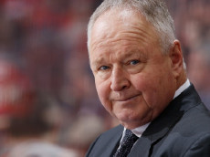 CALGARY, AB - DECEMBER 4: Head coach Randy Carlyle of the Anaheim Ducks mans the bench against the Calgary Flames at Scotiabank Saddledome on December 4, 2016 in Calgary, Alberta, Canada. (Photo by Gerry Thomas/NHLI via Getty Images)