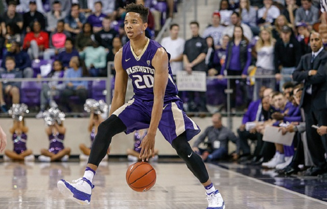 FORT WORTH, TX - NOVEMBER 30: Washington Huskies guard Markelle Fultz (20) brings the ball up the court during the NCAA Basketball game between the Washington Huskies and TCU Horned Frogs on November 30, 2016, at Ed & Rae Schollmaier Arena in Fort Worth, TX  (Photo by Andrew Dieb/Icon Sportswire)