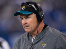 INDIANAPOLIS, IN - JANUARY 01: Jacksonville Jaguars interim head coach Doug Marrone on the sidelines during the NFL game between the Jacksonville Jaguars and Indianapolis Colts on January 1, 2017, at Lucas Oil Stadium in Indianapolis, IN.  (Photo by Zach Bolinger/Icon Sportswire via Getty Images)