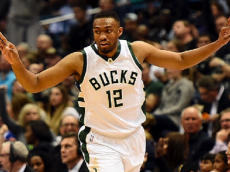 MILWAUKEE, WI - NOVEMBER 21: Jabari Parker #12 of the Milwaukee Bucks reacts to a three point shot during the second half of a game against the Orlando Magic at BMO Harris Bradley Center on November 21, 2016 in Milwaukee, Wisconsin. (Photo by Stacy Revere/Getty Images)