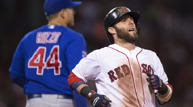 BOSTON, MA - JULY 02: Dustin Pedroia #15 of the Boston Red Sox reacts after ground out to third base against the Chicago Cubs in the seventh inning at Fenway Park on July 2, 2014 in Boston, Massachusetts. (Photo by Michael Ivins/Boston Red Sox/Getty Images)