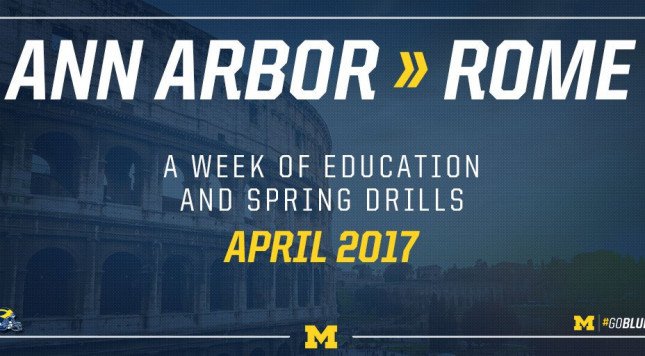 MI  football to visit Rome for spring practice, education
