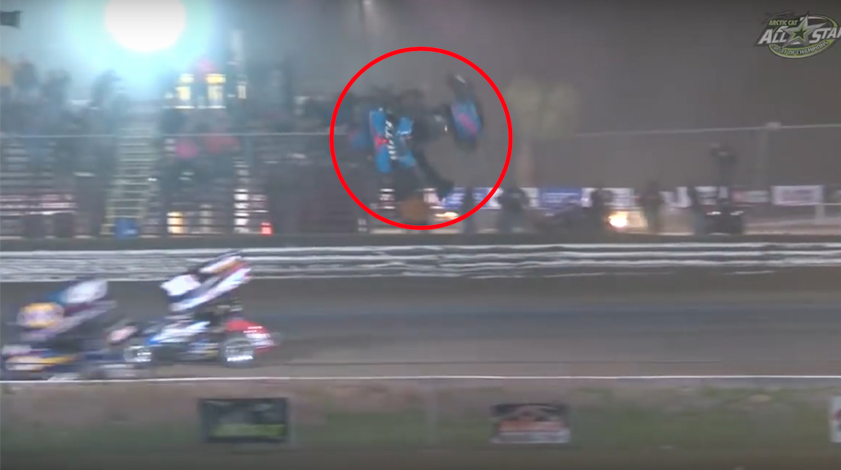 Sprint Car Fan: Flipping Sprint Car Goes Incredibly Close To Hitting Fans